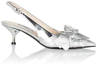Prada Women's Bow-Embellished Metallic Leather Slingback Pumps - Silver