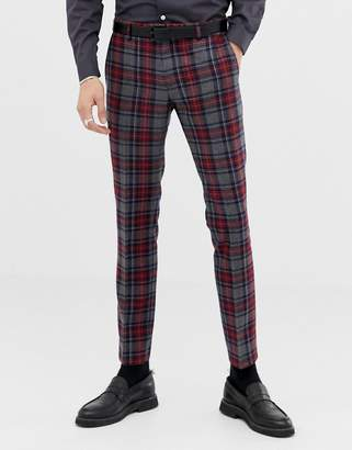 Twisted Tailor super skinny suit PANTS with plaid check in wool