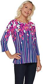 Bob Mackie Bob Mackie's Floral Print 3/4 Sleeve JerseyKnitTop
