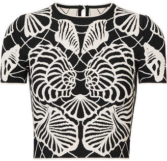 Alexander McQueen Cropped Jacquard-knit Top - Black