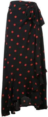 Ganni polka dot wrap skirt