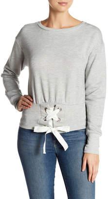 Harlowe & Graham Long Sleeve Cropped Corset Sweatshirt