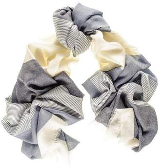 Black Chester Blue and Cream Merino Wool and Silk Scarf