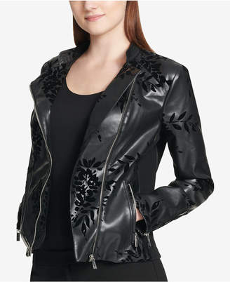 Calvin Klein Embossed Faux-Leather Moto Jacket