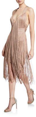 Herve Leger Deep-V Neck Metallic Wrap Dress