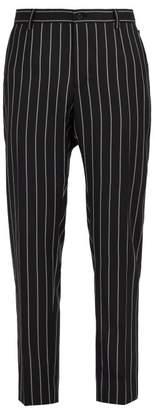 Dolce & Gabbana - Pinstriped Virgin Wool Blend Trousers - Mens - Black