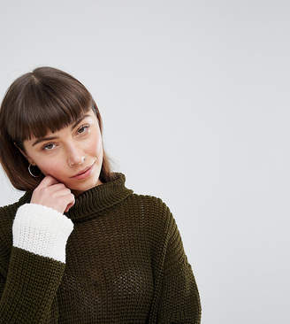 Daisy Street Roll Neck Jumper With Contrast Stripe Panel