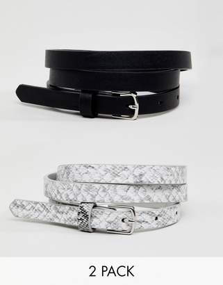 New Look Animal Print 2 Pack Belts