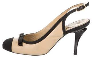 Chanel Leather Sling-Back Pumps Beige Leather Sling-Back Pumps