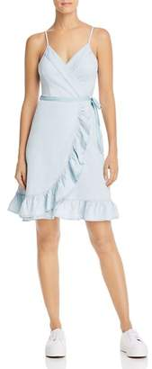 Blank NYC BLANKNYC Chambray Ruffled Wrap Dress