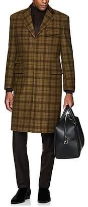 Cifonelli Men's Velvet-Trimmed Plaid Wool Overcoat - Tan