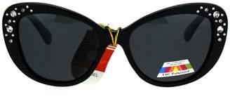 Cat Eye PASTL Womens Polarized Lens Sunglasses Rhinestone Design Cateye Butterfly Frame