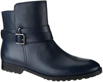 Isaac Mizrahi Live! Leather Ankle Boots w/ Strap Detail