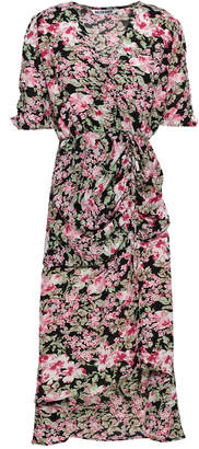 Walter W118 By Baker Wrap-effect Floral-print Ruched Chiffon Dress
