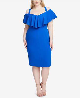 Rachel Roy Plus Size Marcella Flounce Cold-Shoulder Dress
