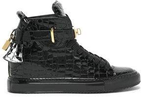 Buscemi Embellished Croc-Effect Patent-Leather High-Top Sneakers