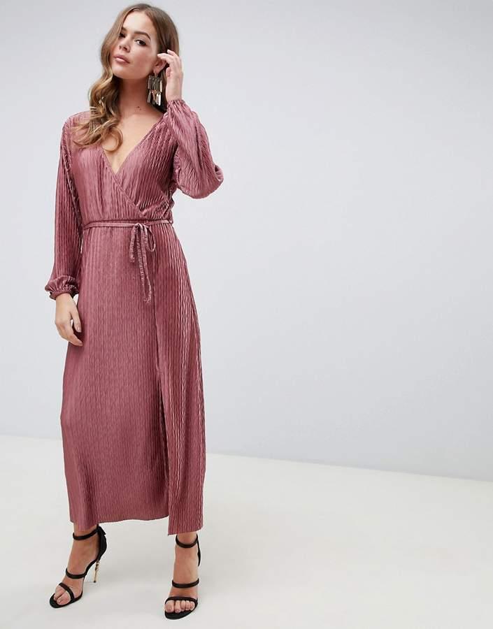ASOS DESIGN chevron plisse maxi dress with self belt
