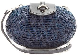 Khokho - Lindi Minaudière Leather Trimmed Basket Bag - Womens - Navy Multi