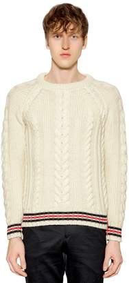 Thom Browne Wool Cable Knit Sweater W/ Striped Edges