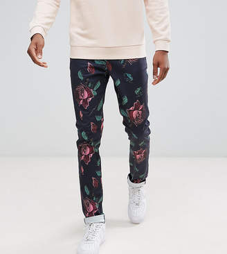 Asos Tall Skinny Pants In Oversized Rose Print