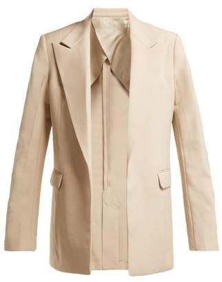 Helmut Lang Oversized Single Breasted Twill Blazer - Womens - Beige