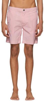 Onia Orange and White Striped Calder Swim Shorts
