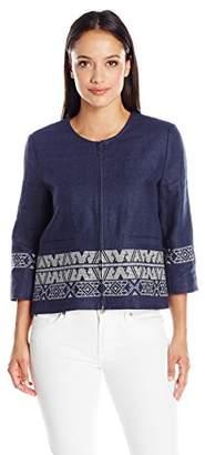 Pendleton Women's Petite Size Embroidered Zip Jacket