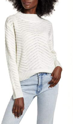 DREAMERS BY DEBUT Chevron Stitch Mock Neck Sweater