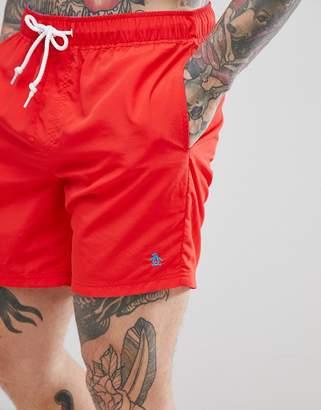 Original Penguin Swim Shorts Slim Fit Small Logo in Red
