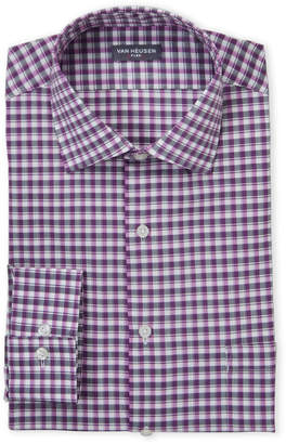 Van Heusen Dusty Plum Check Stretch Regular Fit Dress Shirt