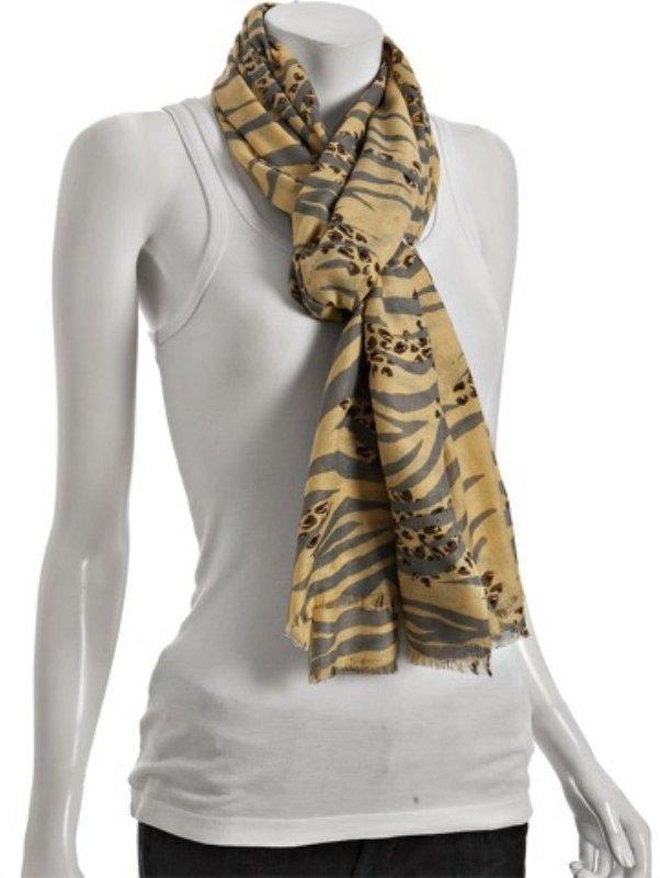 Kashmere banana 'zeopard' print cashmere-silk scarf
