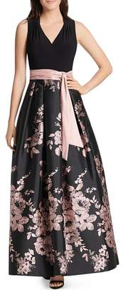 Eliza J Floral Belted Ball Gown