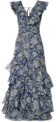 Johanna Ortiz The Sea Nymph Ruffled Printed Silk-organza Maxi Dress - Blue