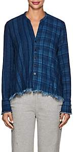 Greg Lauren Women's Checked Cotton Flannel Studio Shirt - Indigo