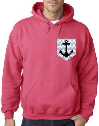 New Way 113 - Hoodie Chevron Anchor Pocket Pink Sweatshirt