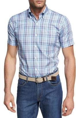 Peter Millar Peak Plaid Short-Sleeve Sport Shirt, Light Blue
