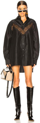 Maison Margiela Lace Insert Shirt Dress in Black | FWRD