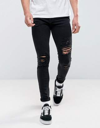Jack and Jones Intelligence Jeans In Skinny Fit Ripped Black Denim
