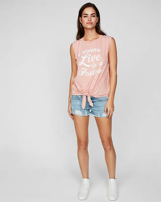 Express I Wanna Live In A Festival Knotted Tank