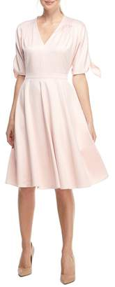 Gal Meets Glam Debbie Butter Satin Fit & Flare Dress