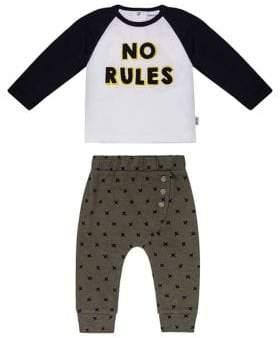 Petit Lem Baby Boy's Two-Piece Monster No Rules Cotton Top Jogger Pants Set