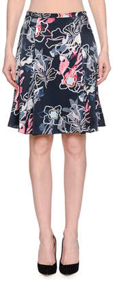 Giorgio Armani Abstract Floral-Print Silk Satin A-Line Knee-Length Skirt