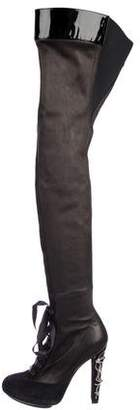 Diego Dolcini Leather High-Knee Boots