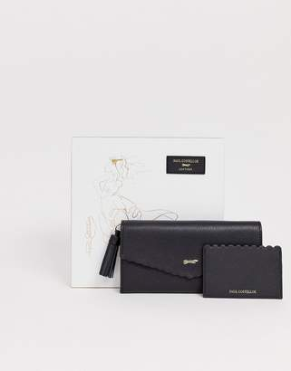 Paul Costelloe real leather scallop large ladies' wallet & cardholder gift set