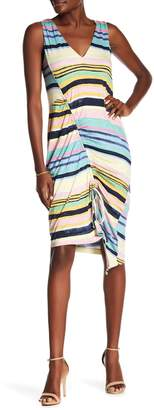 Rachel Roy Asymmetrical Cinched Stripe Dress
