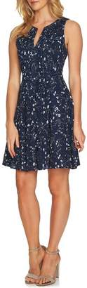 CeCe Graceful Floral Pintuck Dress