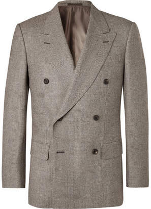 Kingsman Brown Double-Breasted Prince Of Wales Checked Wool Suit Jacket