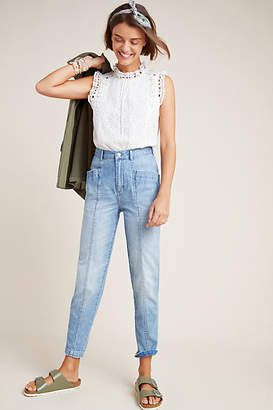 Rebecca Taylor La Vie by Front Seam Ultra High-Rise Straight Jeans