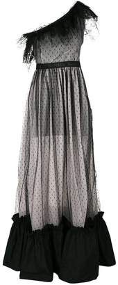 MSGM one shoulder gathered gown