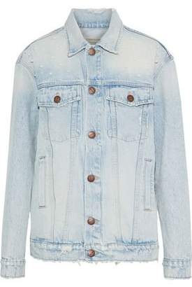 Current/Elliott The Boyfriend Trucker Distressed Embellsihed Denim Jacket